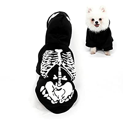 Filhome Skeleton Dog Pet Costume Cat Halloween Funny Puppy Kitten Jumpsuit Bone Clothing for Small Medium Dogs L