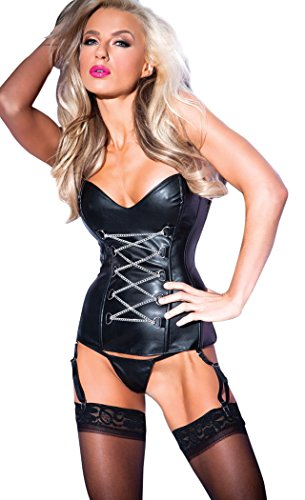 Allure Lingerie Women's Faux Leather Corset with Front Chain Detail G-String, Black, X-Large