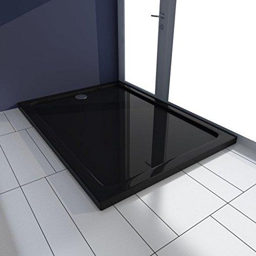 ABS douchebak, rechthoekig, 80 x 110 x 4 cm, zwart