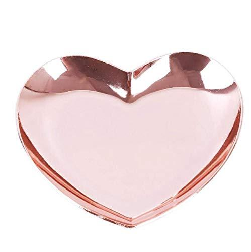 Joyero y almacenamiento de la bandeja del corazón de la joyería en forma de bandeja Bandeja de anillos de oro rosa pequeña baratija de la baratija de almacenamiento de palets de exhibición del collar