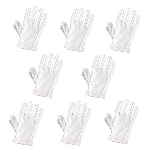 Pixnor Lot de 8 paires de gants de manipulation doux en coton (Blanc)