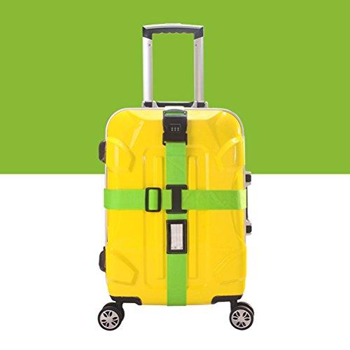 NUOLUX Gepäckgurt Kofferband rutschfest Kreuz Gepäck Gurt mit Passwort 3-stelligen Zahlenschloss(Grün)