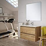 Aquore | Mueble de Baño con Lavabo y Espejo | Mueble Baño Modelo Sundee 2 Cajones Suspendido |...