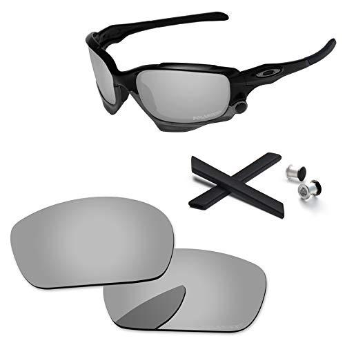 PapaViva Objektiv-Ersatz- und Gummi-Sets für for Oakley Jawbone/Racing Jacke. Gr. onesize, Chrom-Silber – polarisiert