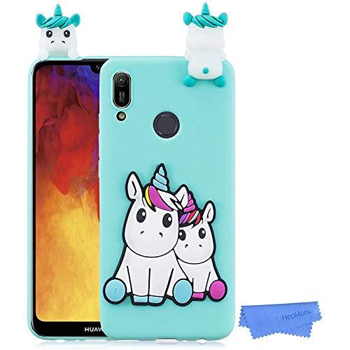HopMore Funda para Huawei Y6 2019 / Honor 8A Silicona Dibujo 3D Divertidas Panda Animal Carcasa TPU Ultrafina Case Slim Antigolpes Caso Protección Flexible Cover Design Gracioso - Unicornio Verde
