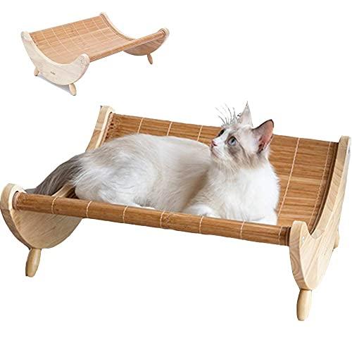 Letti rialzati per gatti e gatti, cucce per cani di piccola taglia in legno rialzato per gatti e cuccioli, lettino per lettino da salotto portatile (amaca per gatto)