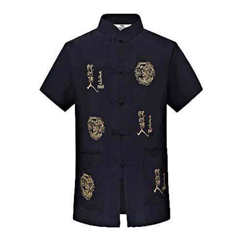 Kurzarm-Stehkragen für traditionelle chinesische Männer mit Dragon Design Tang-Anzug Tai Chi-Hemd Kung Fu-Uniform (7,2XL)