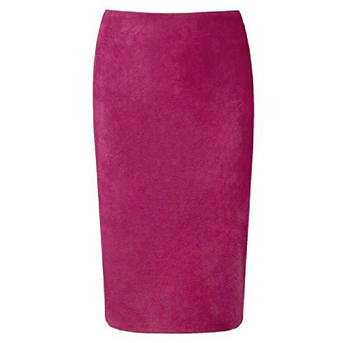 N\P Verano de las señoras de gamuza de longitud media lápiz falda de cintura alta gris rosa elástico wrap señoras
