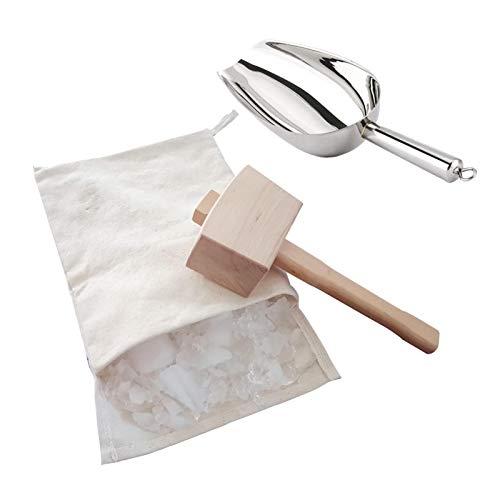 Juego de mazo de hielo triturado, mazo de hielo y bolsa Lewis, martillo de madera + bolsa de lona + pala para hielo de acero inoxidable, cócteles de barra de hielo triturado - Kit de herramientas
