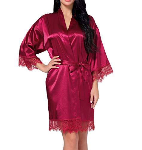 DELEY Frauen Kimono Robe Satin Seide Bademantel Morgenmantel Spitze Getrimmt Kurze Nachtwäsche Braut Brautjungfer Roben Dunkelrot Größe L