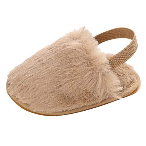 Toddler Walking Shoes,Fineser Newborn Baby Girls Sandals Faux Fur Slide with Elastic Back Strap Flats Infant Shoes Slipper (Khaki, 12-15Months Toddler)