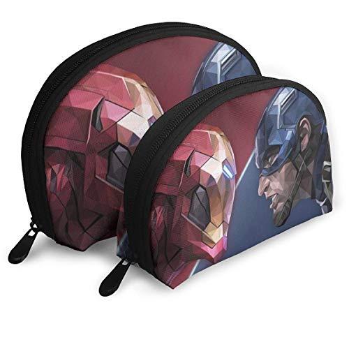 Iron Man Et Cap Maquillage Sac De Voyage Sacs Petit Shell Sac Portable Trousse De Toilette Pochette 2 Pcs