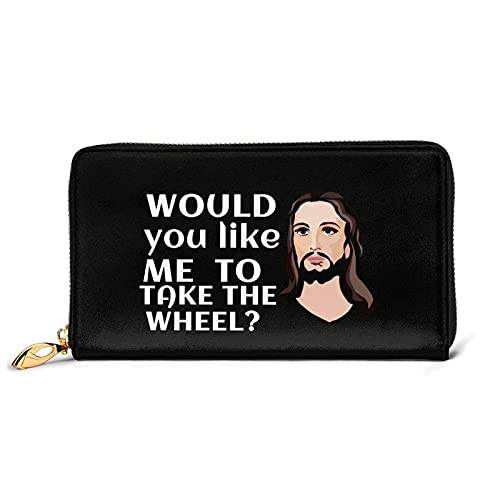 Portefeuille en Cuir Jesus Take The Wheel avec 12 emplacements pour Cartes Mode et Personnalisation