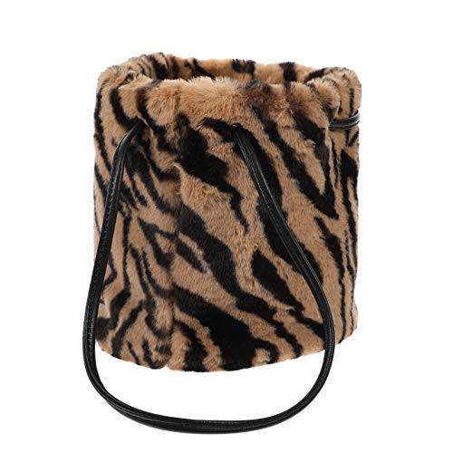 SOIMISS Zebra Print Crossbody Bag Plush Animal Print Bucket Bag Fluffy Shoulder Tote Bag Evening Dating Satchel Messenger Underarm Purses Pouch for Women Brown