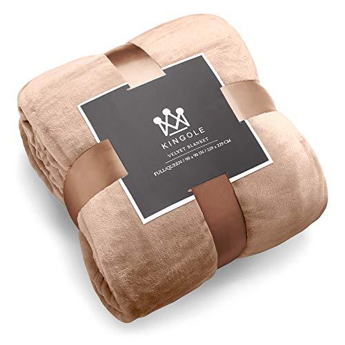 Kingole Flannel Fleece Microfiber Throw Blanket, Luxury Brown Twin...