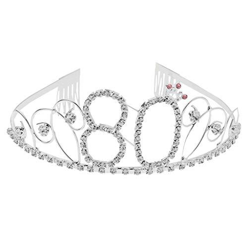 Baoblaze Bandeaux de Couronne Bandeau de Cheveux en Strass Diadème 60/70/80/90 / 100ème Cadeau d'anniversaire - 80
