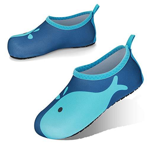 JOTO Zapatos de Agua para Niños Chicos, Zapatillas Acuáticas Secado Rápido Tipo Calcetines como Descalzado, Escarpines Deportivos para Paseo en Playa Buceo Snorkel Kayak Yoga Surf -Ballena Azul