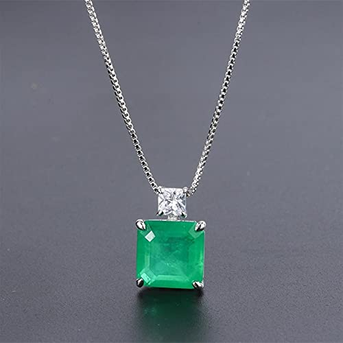 925 Sterling Silver Emerald Diamond Colgante Colgante Body Party Set (Gem Color : Only Necklace)