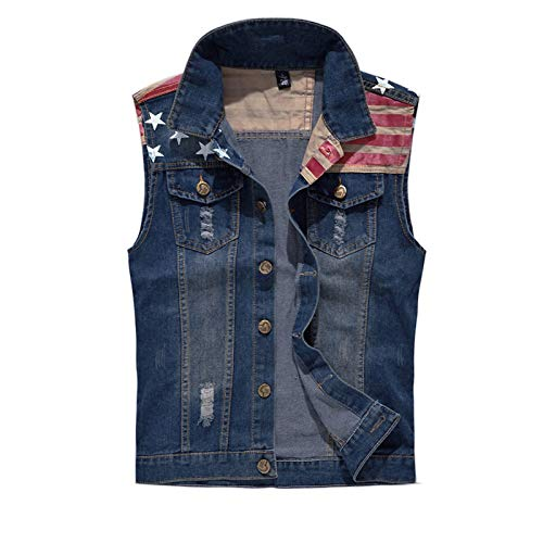 Men's Sleeveless Jacket Button Down Casual Lapel Denim Vest Ripped Hole Plus Size (American Flag, L- Tag 3XL BUST 41.5)