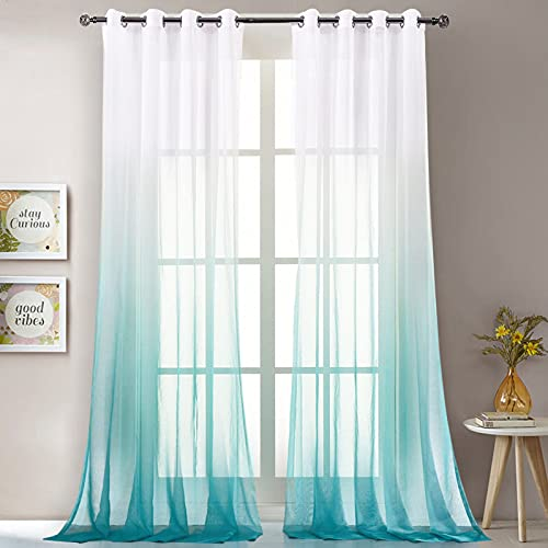 """LoyoLady Turquoise Ombre Sheer Curtains 102 Inches Long Grommet Bedroom Curtains 2 Panel 52"""" W x 102"""" L"""