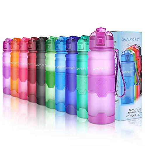 WINPOST Bottiglia d'Acqua Sportiva Senza BPA - Borraccia 500ml&700ml&1000ml (Purple,...
