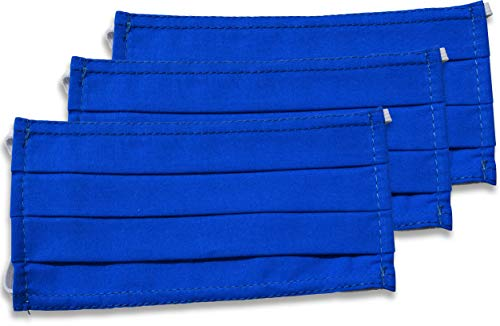 fashionchimp ® 3er-Set Mundschutz-Maske aus 100% Baumwolle, Gesichtsmaske, waschbar, EU-Ware, OEKOTEX (Royal-Blau)
