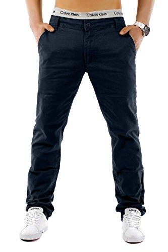 EGOMAXX Herren Chino Hose Regular Fit MC Trendstr Elegante Basic Stoff Jeans, Farben:Dunkelblau, Größe Hosen:W32