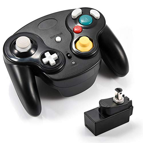 Veanic 2.4G Wireless Gamecube Controller Gamepad Gaming Joystick with Receiver for Nintendo Gamecube,Compatible with Wii (Black)