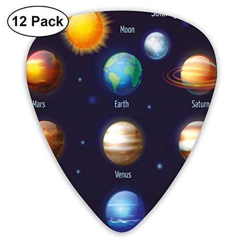 Gitarre wählt Sonnensystem Planeten und die Sonne Piktogramme Set Astronomisch Buntes Design, Für Bass E-Gitarren-12 Pack