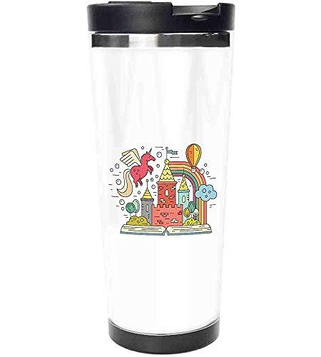 Travel Mug-Princess Castle Theme mit Einhorn Regenbogen Luftballons Wolken Feier Kindergarten Edelstahl Kaffeetasse & Tasse-Thermal Cup mit Spritzwassergeschütztem Schiebedeckel-14 Unzen