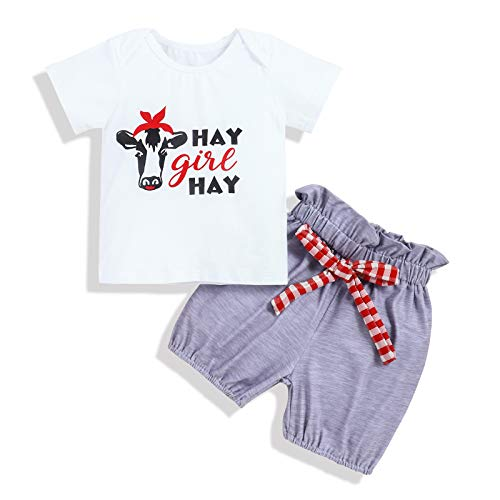 Baby Girl Clothes Summer Cow Hay Girl Print Short Sleeve Top Short Toddler Infant Baby Girls Gift Outfits 0-6 Months
