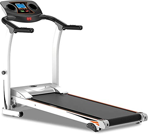 Foldable Steel Frame Treadmill, Adjustable tilt Fitness cardiopulmonary Belt Emergency System Hand-held Pulse Sensor Tablet Computer Bottle Rack