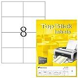 TopStick 8716 Universal Etiketten DIN A4 groß (105 x 74 mm, 100 Blatt, Papier, matt) selbstklebend, bedruckbar, permanent haftend Adressaufkleber, 800 Klebeetiketten, weiß
