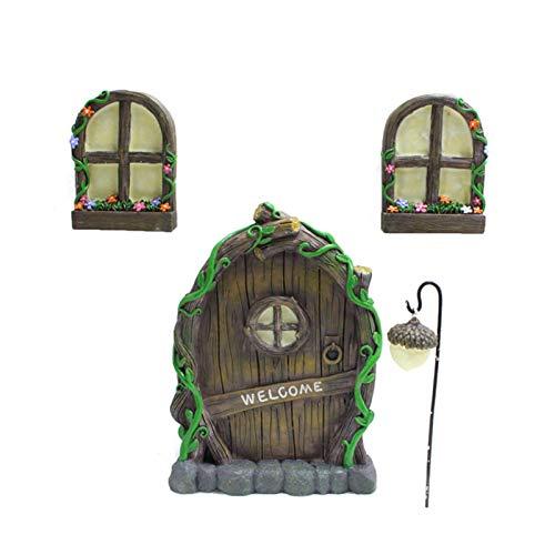 crazerop Miniatur Feengarten Baumgesichter Feentür, Hof Und Garten Skulpturen Mystisches Zwergenhaus, LED Miniatur Tür Und Fenster Für Bäume, Hofkunst, Gartenskulptur, Dekoration