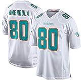 FDRYA Dólphińs 80# Amendola brodé Football Maillots de Football Miámi, t-Shirt de Rugby T-Shirt Sportswear Version Fan, nom personnalisé et numéro de numéro de numéro B-L