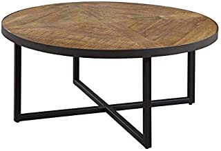 Pemberly Row Barnard Antique Pine Round Coffee Table with Metal Base