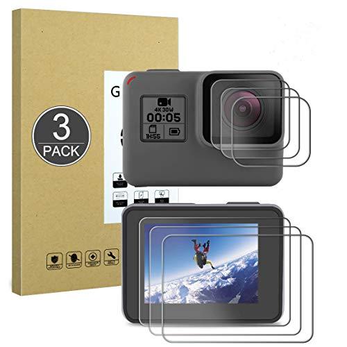 E-Hamii Proteggi Schermo Compatibile con GoPro Hero 7(Black)/5/6,[Resistente ai Graffi,Alta Definizione,Senza Bolle], [3 Pezzi] Pellicola Protettiva in Vetro Temperato per GoPro Hero 7(Black)/5/6