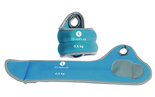 Sveltus - Pulseras con Peso para muñeca (0,5 kg) para Adulto, Unisex, Azul, Talla única