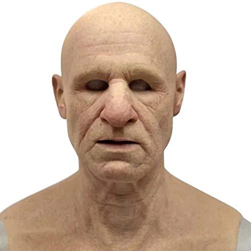 chora Halloween Realistic Old Man Mask, Realistische handgemachte Silikon-Vollkopfmaske für Erwachsene Supersoft Human Skin Mask Neuheit Kostüm Party Gesichtsmaske.