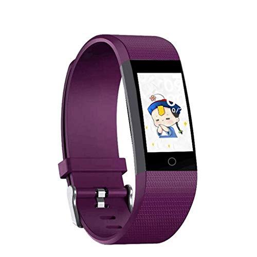 XuQinQin Deportes Pulsera, Pulsera Inteligente (Dial Personalizada + Tiempo de Empuje + Music Control) 4 Colores Opcionales Reloj tecnológico (Color : Purple)