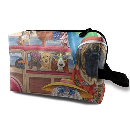 XCNGG Bolsa de cosméticos Bolsa de aseo de gran capacidad Bolsas de maquillaje de viaje suaves Vacaciones en la playa de la familia del perro