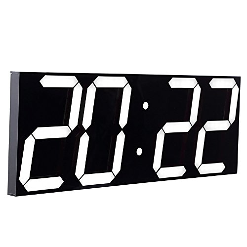 """CHKOSDA Digital LED Wall Clock, Oversize Wall Clock with 6"""" Digital, Remote Control Count up/Countdown Timer Clock, Auto Dimmer, Big Calendar and Thermometer(Black Shell)"""