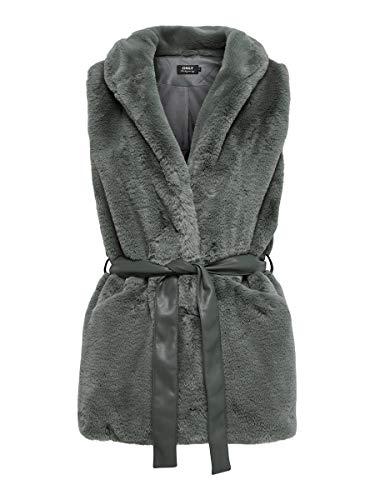 Only ONLOLLIE Faux Fur Waistcoat OTW Abrigo de piel sinttica, gris, L para Mujer