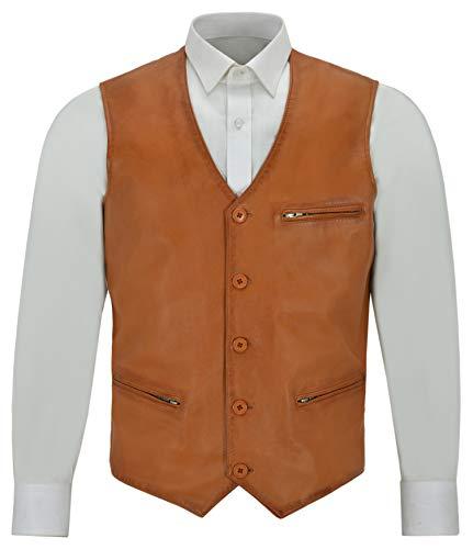 Smart Range Chaleco de Hombre de Cuero Bradley Dapper Chaleco de Hombre de Color marrón con Bolsillos con Cremallera 4528