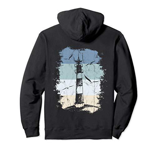 80er Retro Leuchtturm & Möwen Nordsee Ostsee Urlaub am Meer Pullover Hoodie