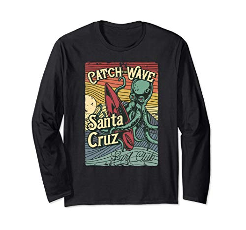 Retro Vintage Surf Club Octopus Surfboard CA Santa Cruz Long Sleeve T-Sh