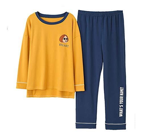 Damen Schlafanzug Lang Pyjama Set 2-Teiliger Bequemer Lose Fit Loungewear Herbst Winter Casual Oberteile und Hose (Gelb,M?Asia L)