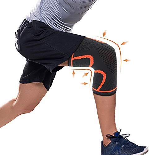 Knee Compression Sleeve Knee Brace for Women Men Arthritis Knee Pain, Anti Slid Knee Support for Weightlifting Running Crossfit Workout Sports Basketball,Knee Pad Wrap for Meniscus Tear (Large)