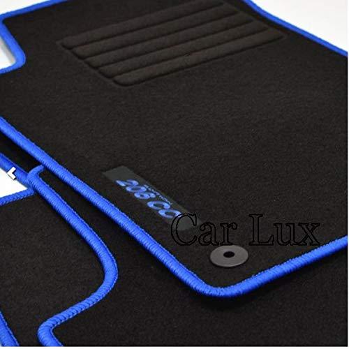 Car Lux AR03167 - Alfombras Alfombrillas Medida Edition Velour Ribete Azul para el 206cc 206 CC