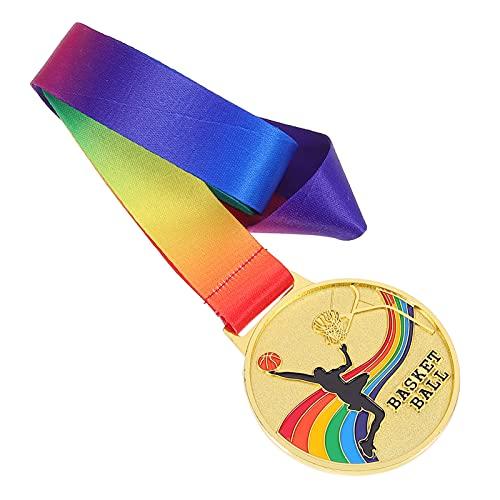Gadpiparty Medalla de Oro Trofeo de Premio con Cinta de Cuello Arco Iris para Las Competiciones Deportivas Deportes Cumplir Medallas Estilo Baloncesto 2 Piezas